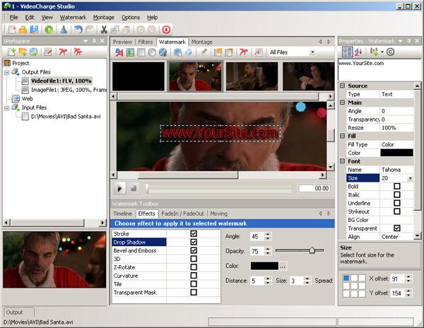 In Watermark Window you can add watermark to creating video or graphic file.
