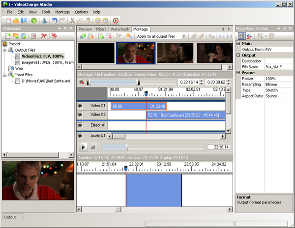 In Montage Window it is possible to create author's video applying features of full video montage: cut or join scenes, add image, sound and so on.